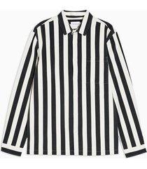 mens black and ecru stripe long sleeve shirt