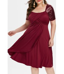 plus size square collar fit and flare solid dress