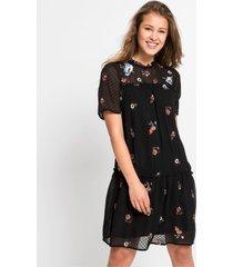 jurk met borduursel, korte mouw