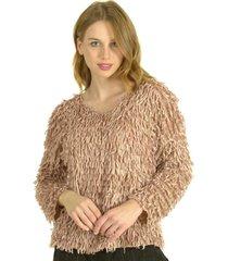 sweater flecos rosa bou's