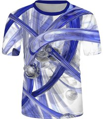 abstract bar and tube print casual short sleeve tee