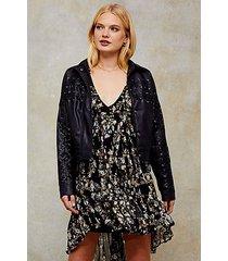 black pu lace up jacket - black