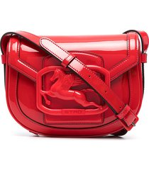 etro pegaso patent leather crossbody bag - red