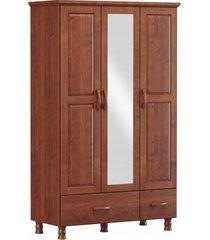 roupeiro 3 portas 2 gavetas e 1 espelho finestra linha bronze cor imbuia