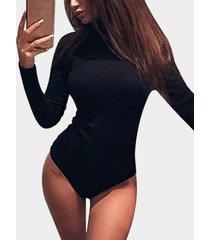black zip design plain perkins collar long sleeves bodysuit