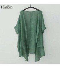 zanzea mujeres frente abierto cascada ocasional de la camisa llanura tops cardigan cubren para arriba la blusa plus -ejercito verde