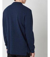 polo ralph lauren men's basic mesh long sleeve polo shirt - spring navy heather - s