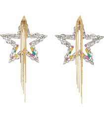 crystal star chain tassel drop earrings