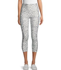 jessica simpson women's movement cropped leopard-print leggings - silver - size l