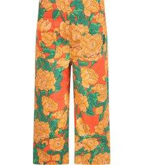 mini rodini orange trousers for girl with peonies