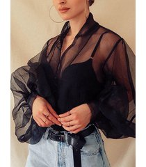 diseño transparente mangas de linterna malla blusa con cuello en v profundo