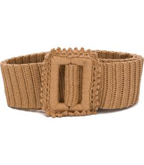 msgm crochet knit belt - brown
