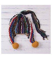 alpaca blend chullo hat, 'fascinating carnival' (peru)