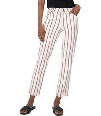 women's kut from the kloth reese stripe high waist ankle straight leg jeans, size 2 - ivory