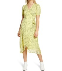 aware by vero moda floral wrap dress, size small in pale green at nordstrom