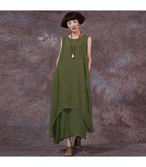 zanzea estilo chino moda nuevo vestido informal para mujer vestidos sueltos de algodón vestidos largos maxi vestidos tallas grandes femininas (verde militar) -verde