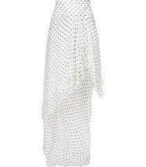 alexandre vauthier asymmetric spotted ruffled skirt - white