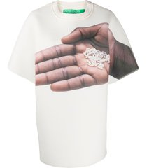 benetton hand print oversized t-shirt - white