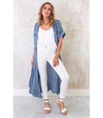 oversized linnen kimono denim blue