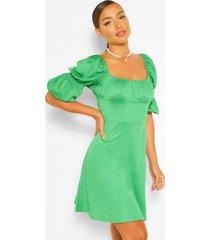 skater jurk met pofmouwen en geplooide buste, groen