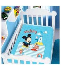 cobertor menino jolitex disney baby mickey barquinho azul
