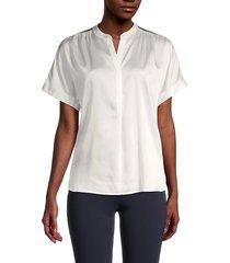karl lagerfeld paris women's metallic trim blouse - soft white - size xs