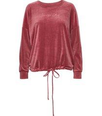 top ls velours drawstring sweat-shirt tröja rosa hunkemöller