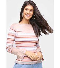 tricô top modas manga flare listrado feminino - feminino