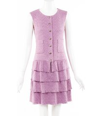 chanel tweed tiered dress pink sz: s