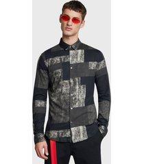 camisa desigual slim isaac multicolor - calce slim fit