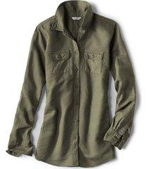 linen/cotton garment-dyed camp shirt