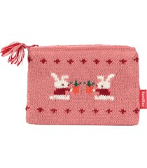 familiar intarsia-knit pouch - pink