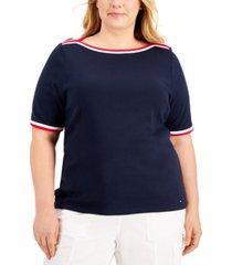 tommy hilfiger plus size cotton boatneck t-shirt