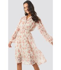 na-kd boho elastic waist chiffon midi dress - pink,beige,nude