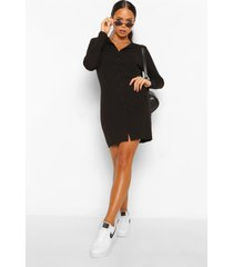 geribbelde mini jurk met knopen, zwart