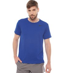 polera nike m nk dry superset top ss azul - calce regular