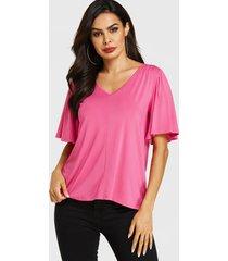 blusa con mangas de volantes y cuello en v rosa