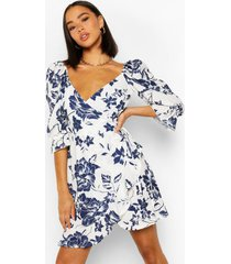floral print puff shoulder tea dress, blue