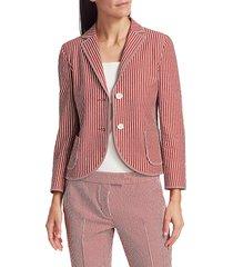 akris punto women's pinstripe seersucker blazer - pink multi - size 6