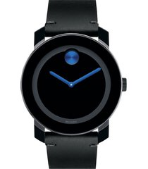 movado 'bold' leather strap watch, 42mm in grey/black/blue at nordstrom