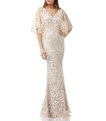 women's js collections embroidered lace evening dress, size 16 - beige