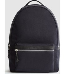 reiss bronnman - leather trim backpack in navy, mens