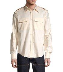 helmut lang men's cotton button front shirt - beige - size s