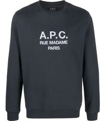a.p.c. logo-print sweatshirt - grey