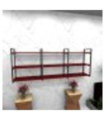 estante estilo industrial sala aço preto 180x30x68cm cxlxa mdf vermelho modelo ind35vrsl