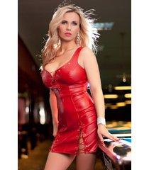 * soleil by xxx collection rode leren jurk met vetersluitingen