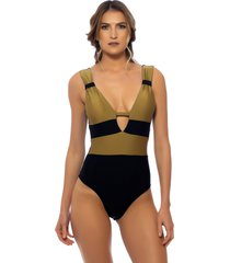 body kalini beachwear trie gold preto