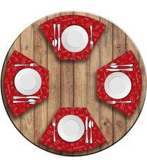 jogo americano   para mesa redonda wevans elementos natalinos vermelho  love decor