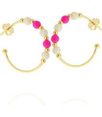 brinco dona diva semi joias argola miçanga rosa