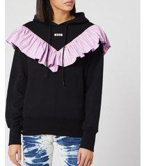 msgm women's frill detail hoodie - black - l